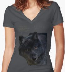 """Wilderness Wolf"" Women's Fitted V-Neck T-Shirt"