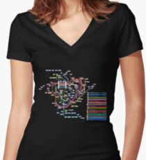 Rail Map of Gensokyo Women's Fitted V-Neck T-Shirt