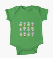 Pink and green matryoshka on black background One Piece - Short Sleeve