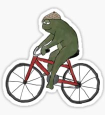 Gentleman Frog on a Bicycle Sticker