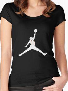 Steve Urkel Jumpman Logo Spoof 6 Women's Fitted Scoop T-Shirt