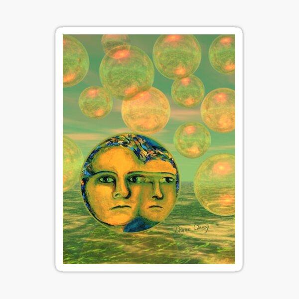 Consciousness - Gold and Green Awakening - Ocean Goddess Sticker