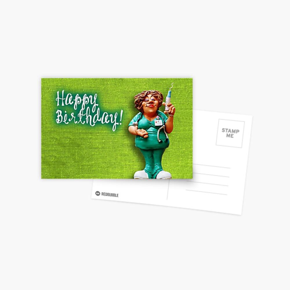 Carte De Vœux Joyeux Anniversaire Infirmiere Par Garigots Redbubble