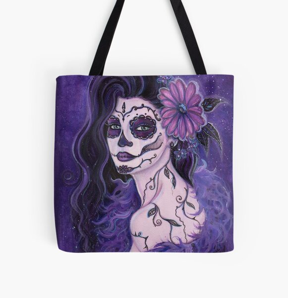 Daisy purple day of the dead art by Renee Lavoie All Over Print Tote Bag