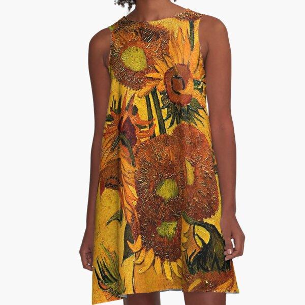 Van Gogh - Vase with 15 Sunflowers A-Line Dress