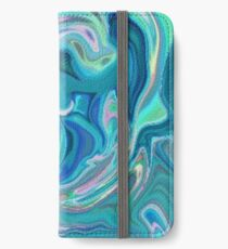 Blue Holographic Pattern iPhone Wallet