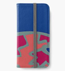 Colorful Abstract Art Throw Pillow in Blue, Pink and Orange iPhone Wallet/Case/Skin