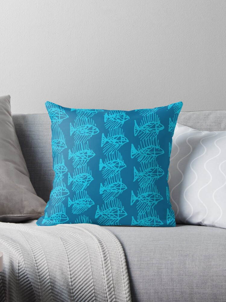 Blue Tropical Fish Abstract Art Throw Pillow by Nicholas Thompson