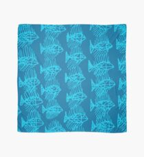 Blue Tropical Fish Abstract Art Throw Pillow Scarf