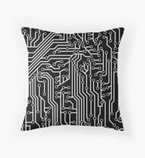 Modern Black and White Cybernetic Circuit Board Pattern Throw Pillow