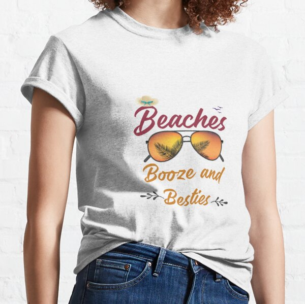 Humor Shirt Women/'s Matching Flamingo Print Tee Shirt with Booze Boats Besties Best Friends Girls Trip Cruise T-Shirt