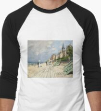 Claude Monet - Beach At Trouville 1870. Famous Paintings. Impressionism Men's Baseball ¾ T-Shirt