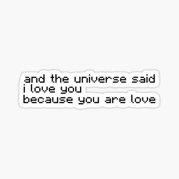 and the universe said I love you, because you are love Sticker