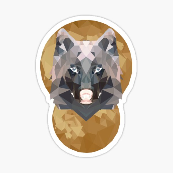 Low Poly Moon + Wolf (Reverse) Sticker