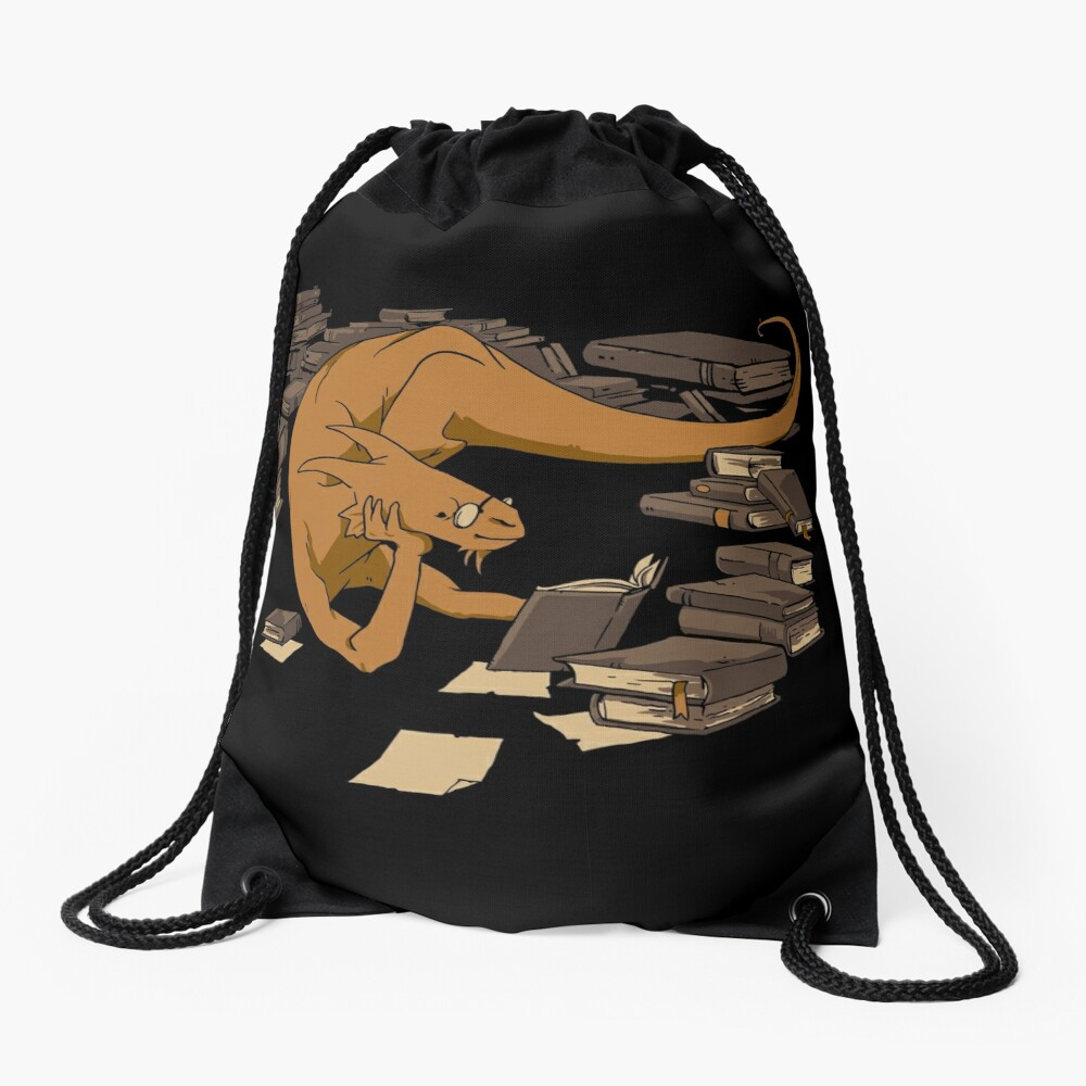 The Book Wyrm Drawstring Bag