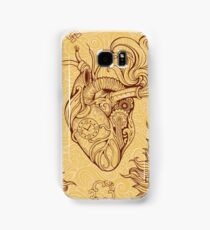 Pattern of heart, clockwork and key in steampunk style Samsung Galaxy Case/Skin
