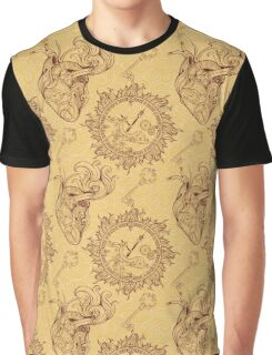 Pattern of heart, clockwork and key in steampunk style Graphic T-Shirt