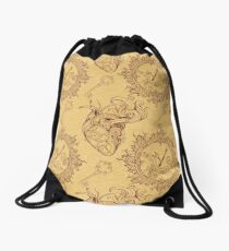 Pattern of heart, clockwork and key in steampunk style Drawstring Bag