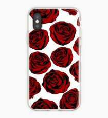 Pattern with red roses on white background.  iPhone Case