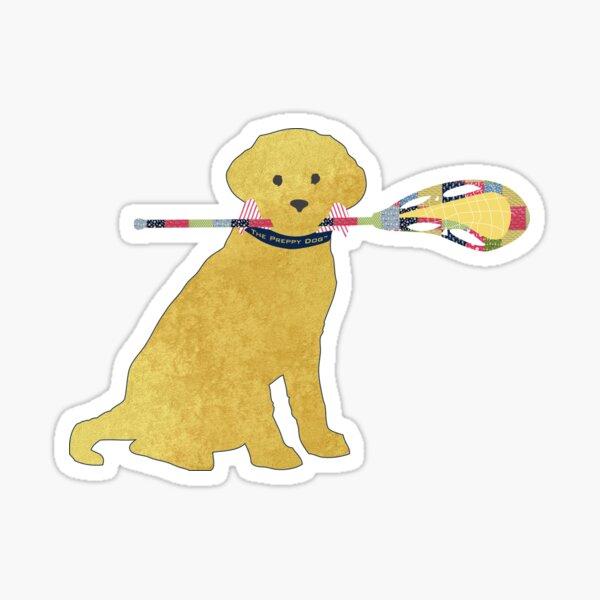 Preppy Yellow Lab Lacrosse Dog Sticker
