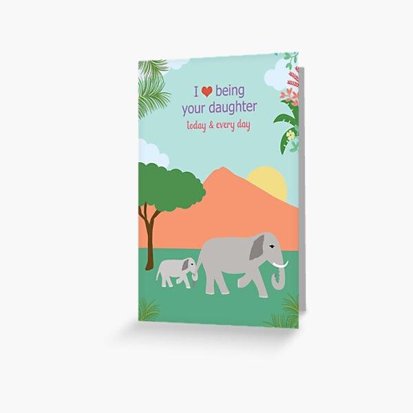 Daughter Love Elephant Greeting Card