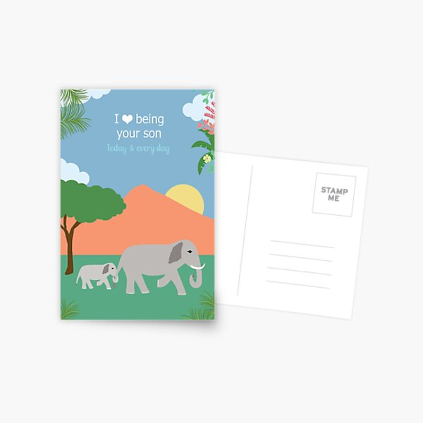 Son Love Elephant Postcard