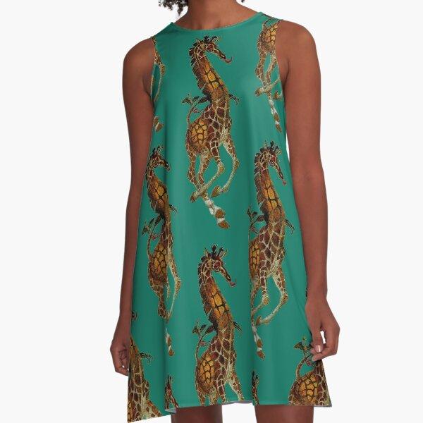 """Giraffe"" Oliver Grimley Fine Art A-Line Dress"