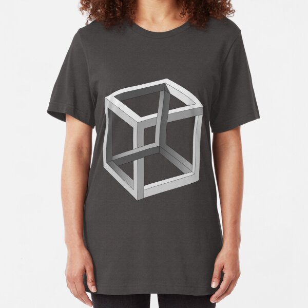 Mind blowing Escher's cube Slim Fit T-Shirt