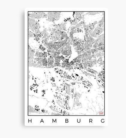 Hamburg Map Schwarzplan Only Buildings Urban Plan Canvas Print