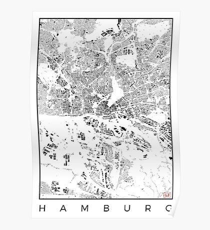 Hamburg Map Schwarzplan Only Buildings Urban Plan Poster