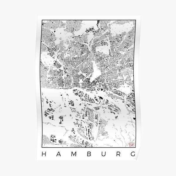 Hamburg Map Schwarzplan Only Buildings Urban Plan Poster