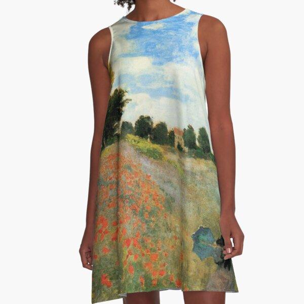 Monet - Poppy Field, Argenteuil, famous vintage painting A-Line Dress