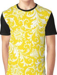 Yellow & White Elegant Floral Damasks Graphic T-Shirt