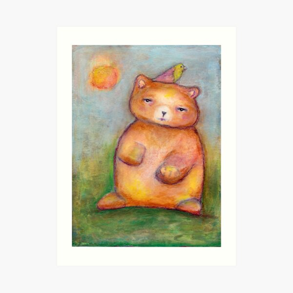 Bear with a Bird Art Print
