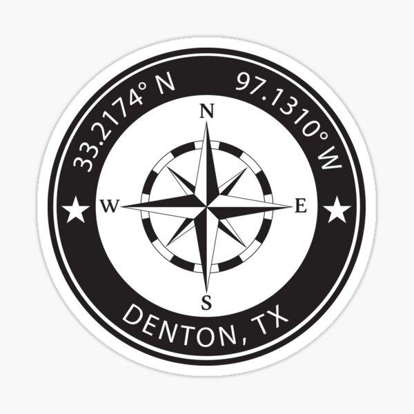Denton, Texas Geographical Coordinates Sticker