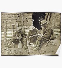 Canadian Soldiers and Trenches WWI Poster