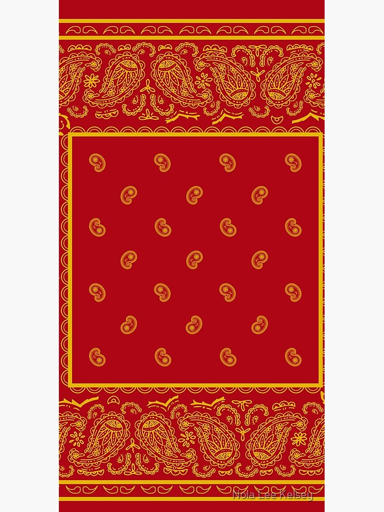 Red and Gold Bandana by NolaLeeKelsey