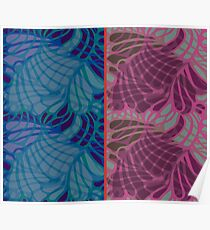 Blue and Purple Abstract Print Duvet Cover Poster