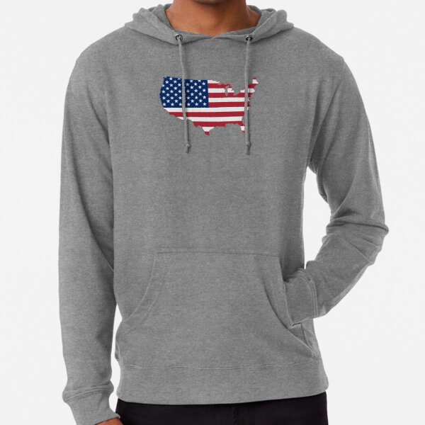 Mens Distressed American Chicago Flag Full Zip Athletic Hooded Sweaters