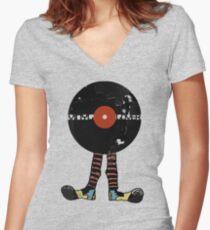 Funny Vinyl Records Lover - Grunge Vinyl Record Women's Fitted V-Neck T-Shirt