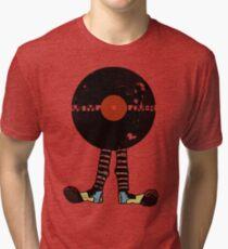 Funny Vinyl Records Lover - Grunge Vinyl Record Tri-blend T-Shirt
