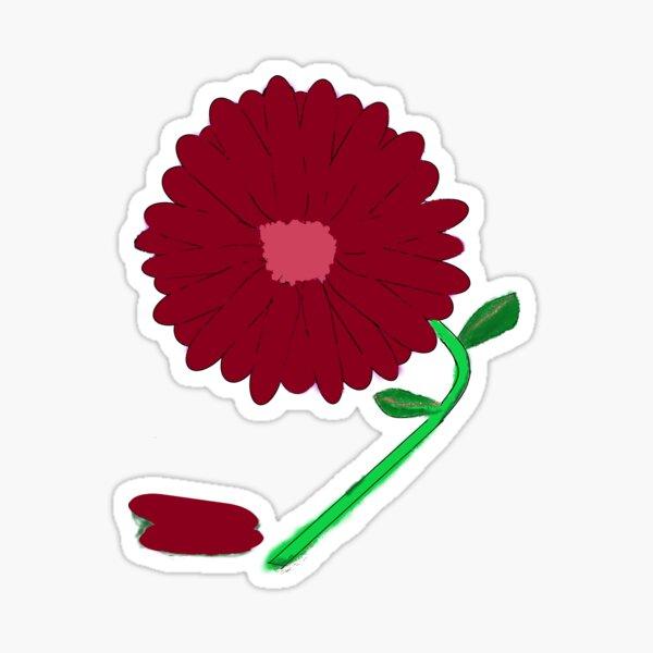 Burgundy Flower With Rose Center and Green Stem Sticker
