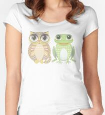 Big-Eyed Cat and Optimistic Frog Women's Fitted Scoop T-Shirt