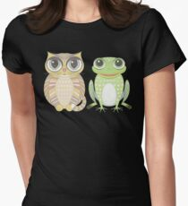 Big-Eyed Cat and Optimistic Frog Womens Fitted T-Shirt