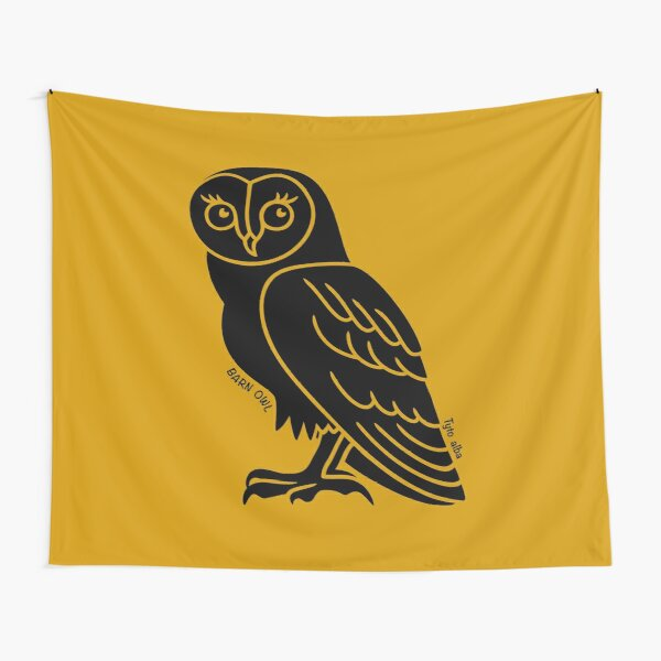 Barn Owl. Iconic Australian Animal. Silhouette with name. Tapestry