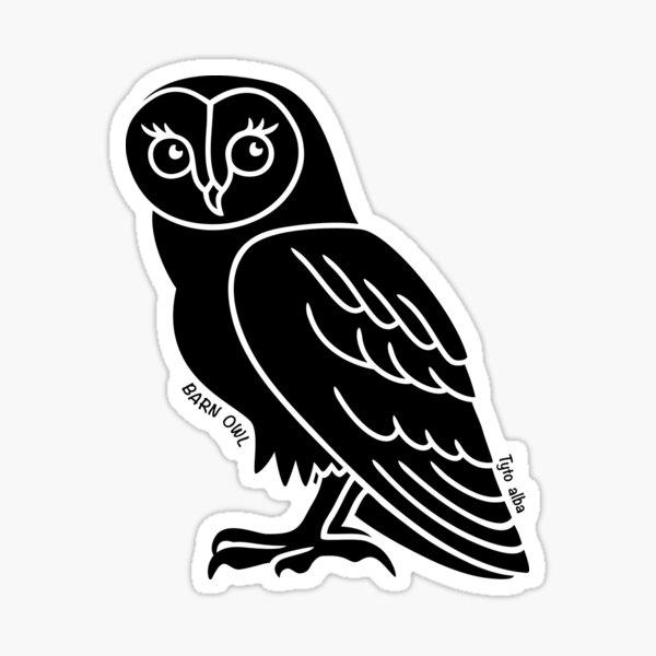 Barn Owl. Iconic Australian Animal. Silhouette with name. Sticker