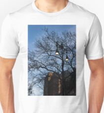 Elegant Period Lamps and Manhattan Skyscrapers Through the Tree Branches Unisex T-Shirt