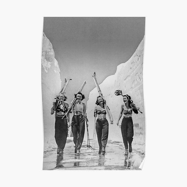 Girls Gone Skiing Vintage Poster