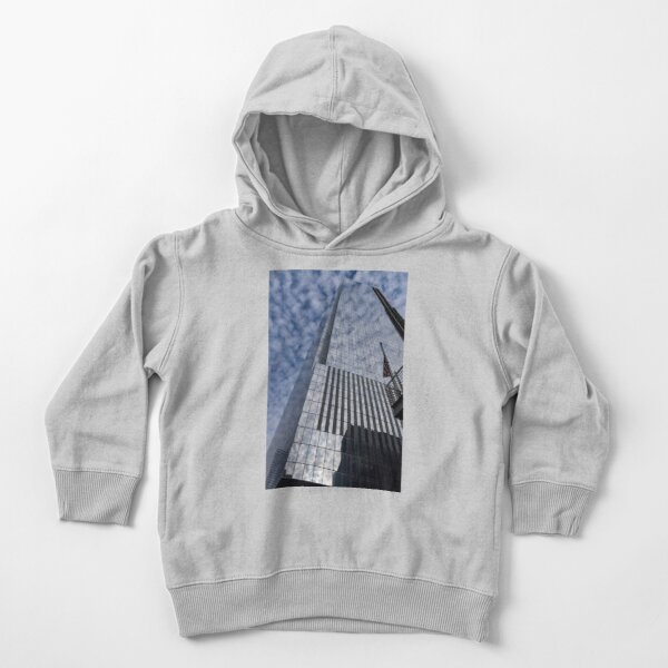Silver and Blue - Cloud Puffs and Glass Skyscrapers Toddler Pullover Hoodie