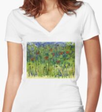 In the Garden Watercolour Painting Women's Fitted V-Neck T-Shirt